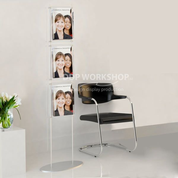 3 Facing Cascade Floor Standing Brochure Display