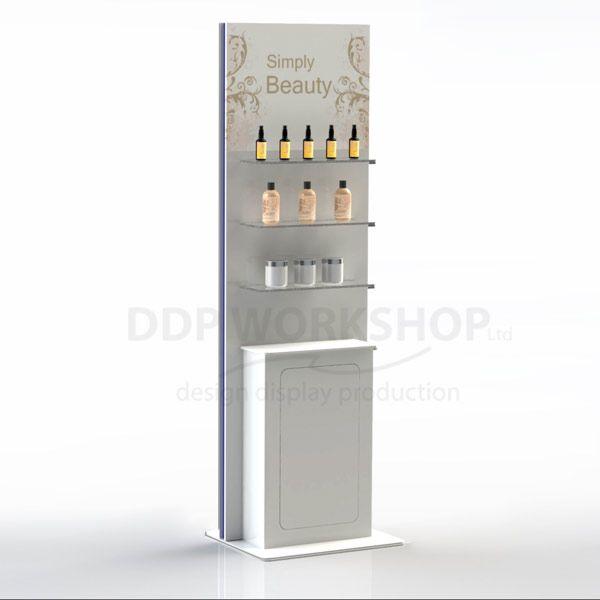 Simple Beauty Floor Standing Cosmetic Display with Cupboard