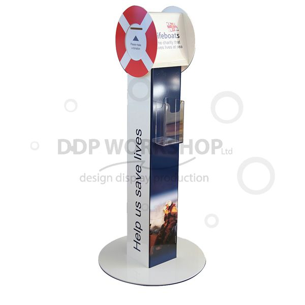 Floor Standing Donation Box with leaflet holder