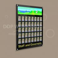 Staff Photo Display Board with Header & Footer Graphics