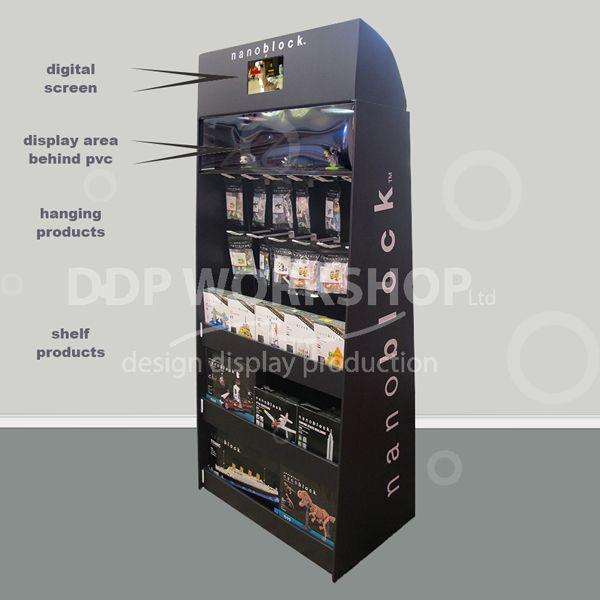 Floor Standing Cardboard Hanging and Shelf Display- with Digital Screen