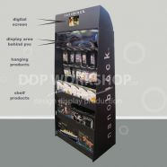 Floor Standing Cardboard Hanging and Shelf Display- with Digital Screen