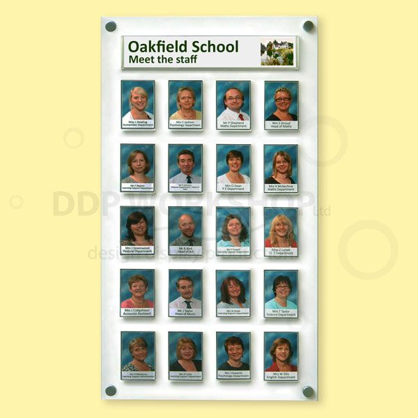 Exhibition Display Cabinet : Photo board with organisation name pocket display boards